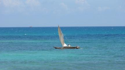 Wooden dhow boats ply Tanzania´s Indian Ocean